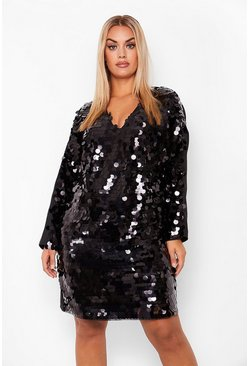 Black Plus Sequin Disk Long Sleeve Shift Dress