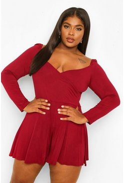Berry red Plus Jersey Long Sleeve Flippy Playsuit