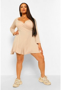 Stone beige Plus Jersey Long Sleeve Flippy Playsuit