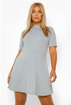 Grey Plus Jersey High Neck Shift Dress
