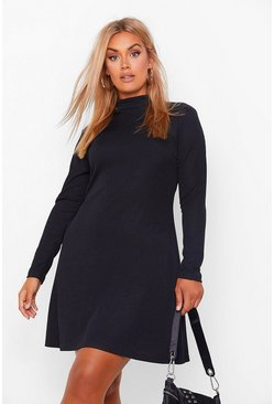 Plus Rib High Neck Swing Dress, Black nero