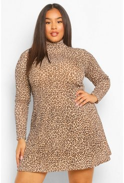Brown Plus Rib High Neck Leopard Swing Dress