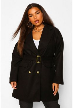 Black Plus Military Detail Belted Wool Look Coat