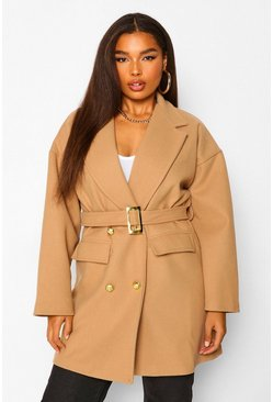 Camel beige Plus Military Detail Belted Wool Look Coat