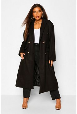 Black Plus Double Pocket Belted Wool Look Coat