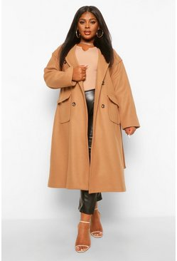 Camel beige Plus Double Pocket Belted Wool Look Coat