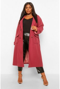 Plum purple Plus Double Pocket Belted Wool Look Coat
