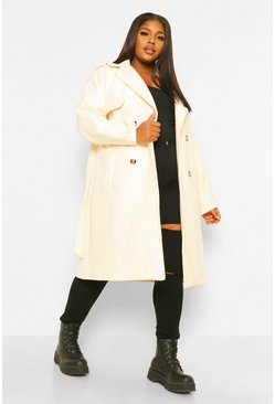 Ecru white Plus Wool Look Belted Trench Coat
