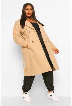 Stone beige Plus Wool Look Belted Trench Coat