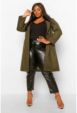 Khaki Plus Luxe Brushed Wool Look Tailored Coat