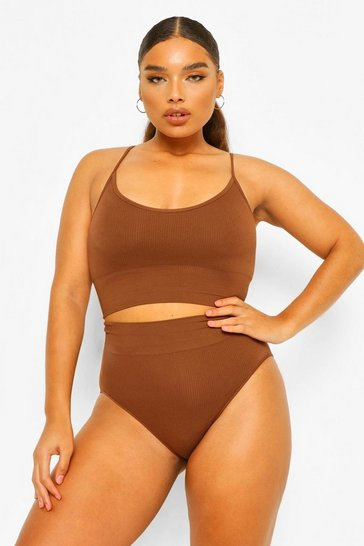 Chestnut brown Plus Rib Seamless Control High Waist Briefs
