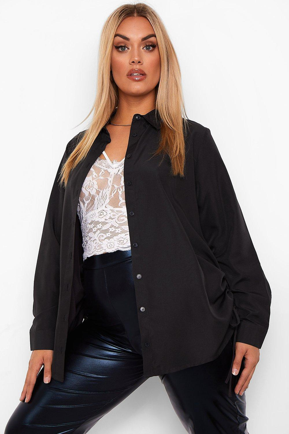 Plus Ruched Side Longline Shirt 12