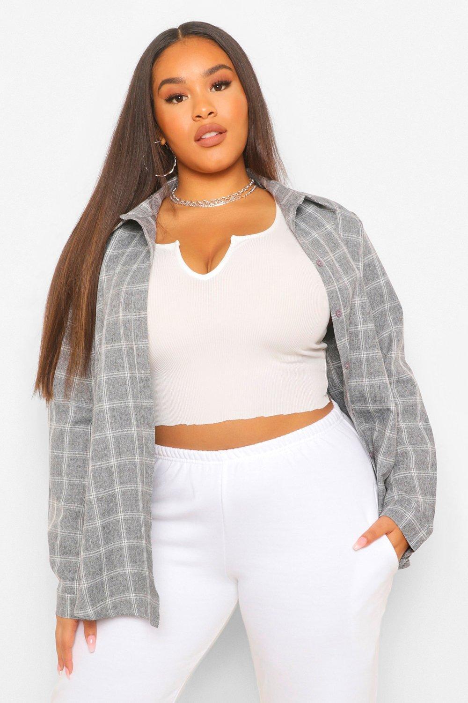 Plus Washed Grid Check Boyfriend Oversized Shirt 14