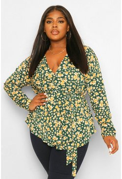 Green Plus Floral Wrap Blouse