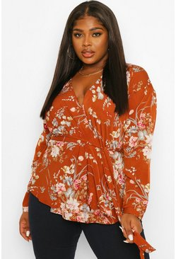 Rust orange Plus Floral Wrap Blouse