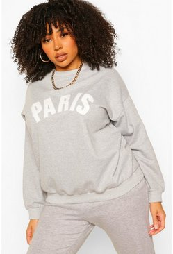 Grey Plus Paris Applique Slogan Sweat