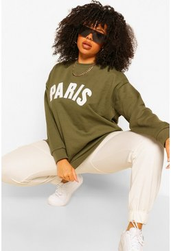 Khaki Plus Paris Applique Slogan Sweat