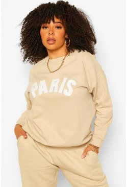 Sand beige Plus Paris Applique Slogan Sweat