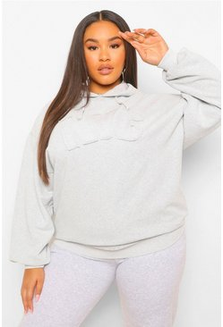 Grey Plus Washed NYC Applique Hoody