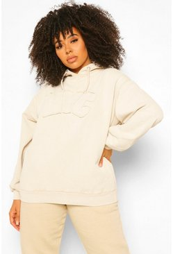 Sand beige Plus Washed NYC Applique Hoody