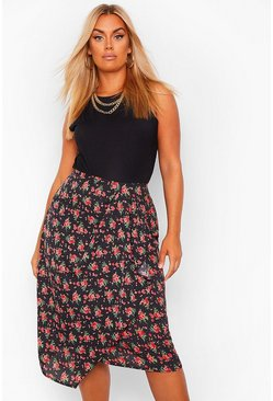 Black Plus Polka Floral Wrap Midi Skirt