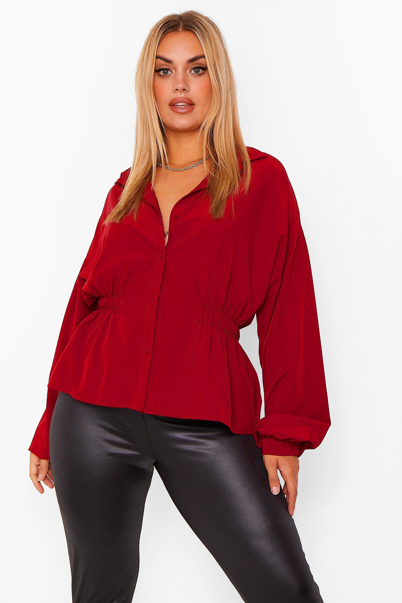 Plus Ruched Peplum Shirt 23