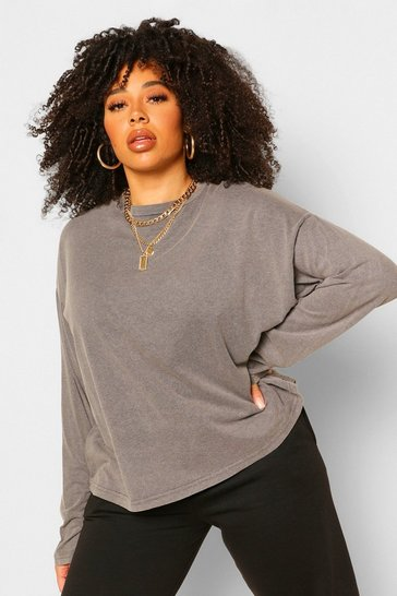 Grey Plus Acid Wash Longsleeve T-Shirt