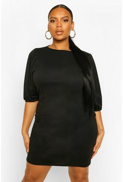 Black Plus Puff Sleeve Seam Detail Sweat Dress