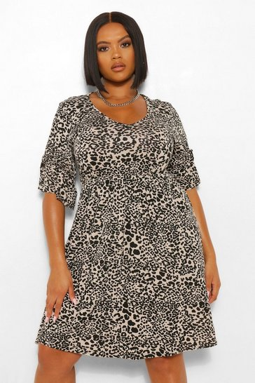 Stone beige Plus Leopard Print Tie Sleeve Detail Smock Dress
