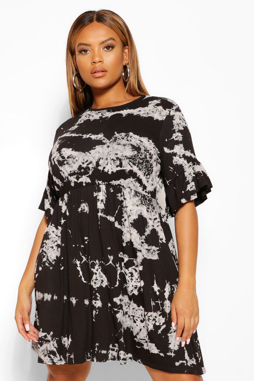 Plus Tie Dye Effect Ruffle Smock Dress 8