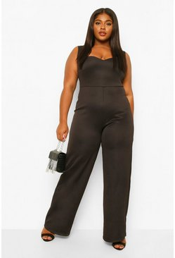 Black Plus Sweetheart Belted Wide Leg Jumpsuit