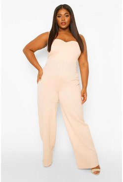 Blush pink Plus Sweetheart Belted Wide Leg Jumpsuit