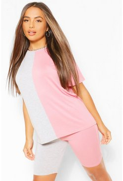 Pink Petite Spliced T-Shirt and Cycling Shorts Co-Ord