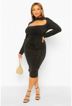 Black Plus Textured Slinky Cut Out Midi Dress