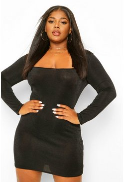 Black Plus Textured Slinky Square Neck Bodycon Dress