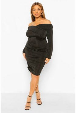 Black Plus Textured Slinky Bardot Midi Dress