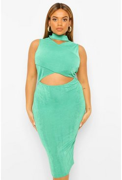 Bottle green green Plus Textured Slinky Cut Out Midi Dress