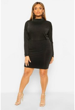 Black Plus Textured Slinky High Neck Bodycon Dress