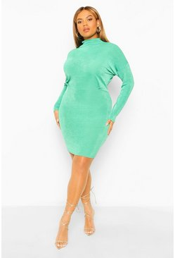 Bottle green green Plus Textured Slinky High Neck Bodycon Dress