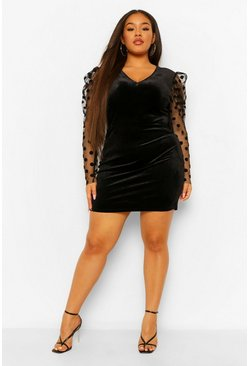Black Plus Velvet Organza Sleeve Skater Dress