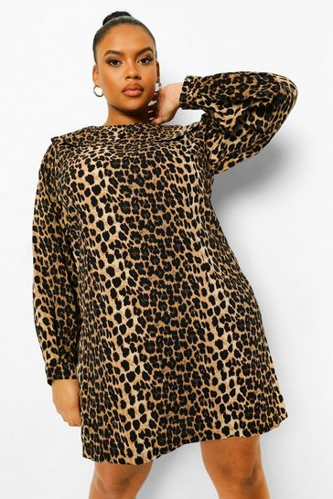 Brown Plus Leopard Collar Shift Dress