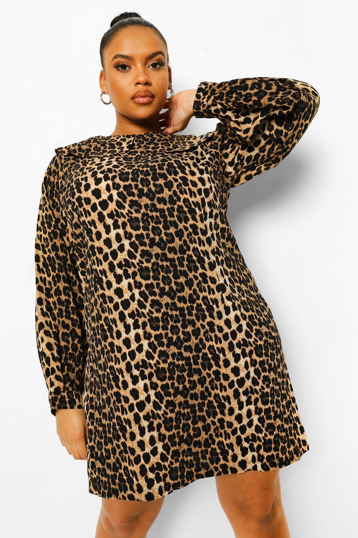 Plus Leopard Collar Shift Dress 8