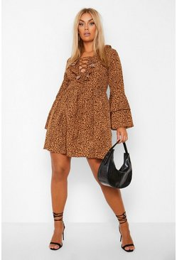 Brown Plus Leopard Print Ruffle Smock Dress