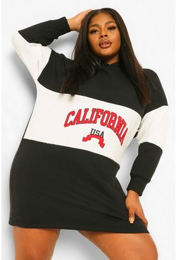 Black Plus California Hooded Sweat Dress