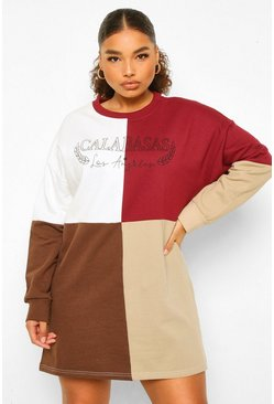 Wine Plus Calabasas Colour Block Sweat Dress