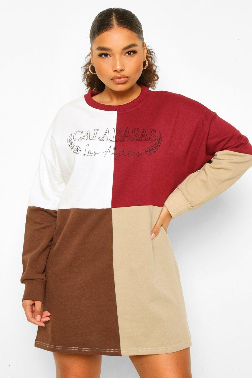 Plus Calabasas Colour Block Sweat Dress 8