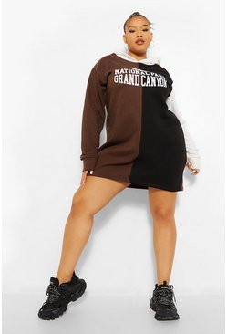 Black Plus Colour Block Slogan Hooded Sweat Dress