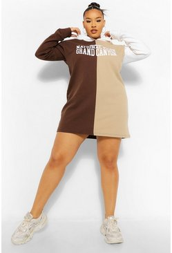 Stone beige Plus Colour Block Slogan Hooded Sweat Dress