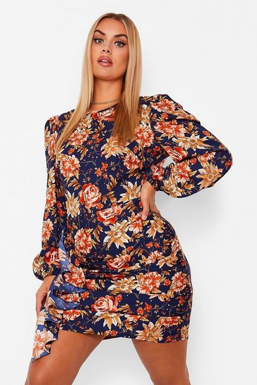 Navy Plus Floral Ruffle Detail Shift Dress