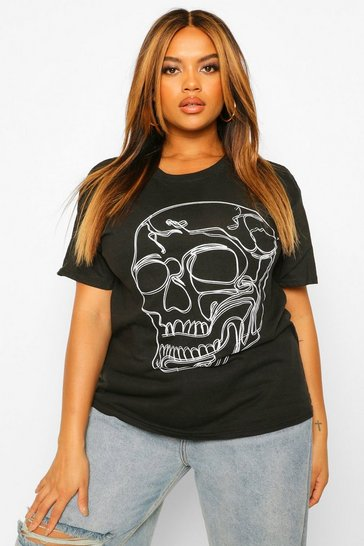 Black Plus Halloween Skeleton Outline T-Shirt